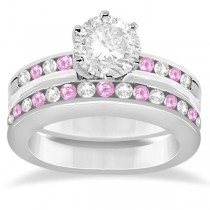 Semi-Eternity Pink Sapphire Gem Bridal Set 18K White Gold (0.96ct)