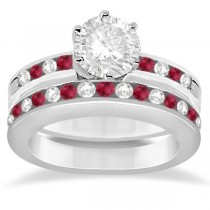 Semi-Eternity Ruby Gemstone & Diamond Bridal Set 14K White Gold 0.96ct