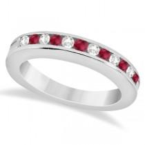 Semi-Eternity Ruby Gemstone & Diamond Bridal Set 14K White Gold 0.96ct