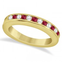 Semi-Eternity Ruby Gemstone & Diamond Bridal Set 14K Yellow Gold 0.96ct