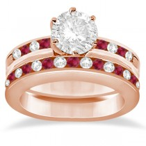 Semi-Eternity Ruby Gemstone & Diamond Bridal Set 18K Rose Gold 0.96ct