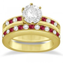 Semi-Eternity Ruby Gemstone & Diamond Bridal Set 18K Yellow Gold 0.96ct