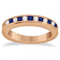 Semi-Eternity Diamonds & Blue Sapphire Wedding Band 14K R. Gold 0.56ct
