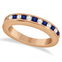 Semi-Eternity Diamonds & Blue Sapphire Wedding Band 18K R. Gold 0.56ct
