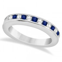 Semi-Eternity Diamonds & Blue Sapphire Wedding Band 18K W. Gold 0.56ct