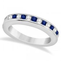 Semi-Eternity Blue Sapphire & Diamond Wedding Band in Platinum (0.56ct)