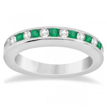 Semi-Eternity Emerald Wedding Band 14K White Gold (0.56ct)|escape