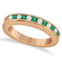 Semi-Eternity Emerald Wedding Band 18K Rose Gold (0.56ct)