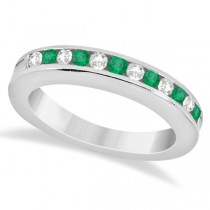 Semi-Eternity Emerald Wedding Band 18K White Gold (0.56ct)