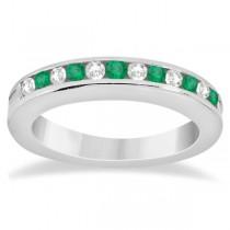Semi-Eternity Emerald Wedding Band in Palladium (0.56ct)