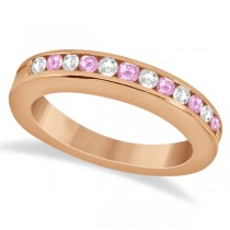 Semi-Eternity Pink Sapphire Wedding Band 14K Rose Gold (0.56ct)