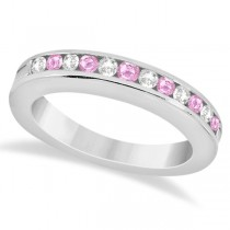 Semi-Eternity Pink Sapphire Wedding Band 14K White Gold (0.56ct)