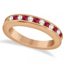 Semi-Eternity Ruby & Diamond Wedding Band 18K Rose Gold (0.56ct)
