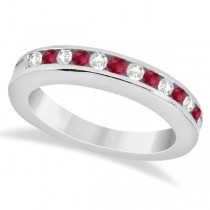 Semi-Eternity Ruby & Diamond Wedding Band 18K White Gold (0.56ct)