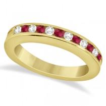 Semi-Eternity Ruby & Diamond Wedding Band 18K Yellow Gold (0.56ct)