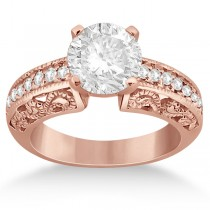 Vintage Filigree Diamond Engagement Ring 14K Rose Gold (0.32ct)