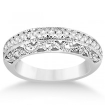 Vintage Filigree Diamond Bridal Ring Set 14K White Gold (0.64ct)