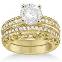 Vintage Filigree Diamond Bridal Ring Set 14K Yellow Gold (0.64ct)