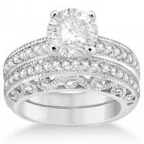 Vintage Filigree Diamond Bridal Ring Set Palladium (0.64ct)