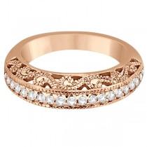 Vintage Filigree Diamond Wedding Ring 14K Rose Gold (0.32ct)