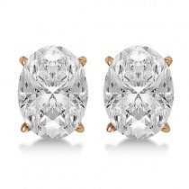 0.75ct. Oval-Cut Diamond Stud Earrings 14kt Rose Gold (H, SI1-SI2)