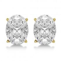 1.00ct. Oval-Cut Diamond Stud Earrings 14kt Yellow Gold (H, SI1-SI2)