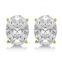 1.00ct. Oval-Cut Lab Grown Diamond Stud Earrings 14kt Yellow Gold (H, SI1-SI2)