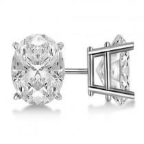 0.75ct. Oval-Cut Diamond Stud Earrings Platinum (H, SI1-SI2)