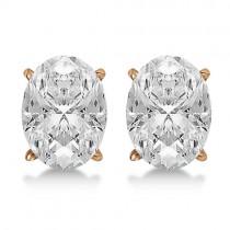2.00ct. Oval-Cut Moissanite Stud Earrings 14kt Rose Gold (F-G, VVS1)