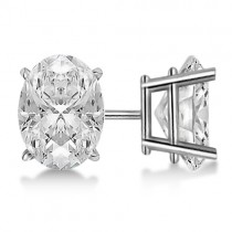 2.00ct. Oval-Cut Moissanite Stud Earrings 14kt White Gold (F-G, VVS1)