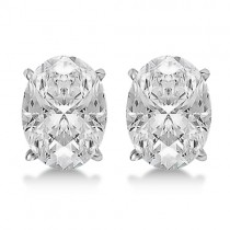 0.50ct. Oval-Cut Moissanite Stud Earrings 14kt White Gold (F-G, VVS1)