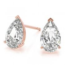 2.00ct Pear-Cut Diamond Stud Earrings 18kt Rose Gold (G-H, VS2-SI1)
