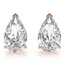 0.75ct Pear-Cut Diamond Stud Earrings 18kt Rose Gold (G-H, VS2-SI1)