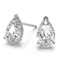 2.00ct Pear-Cut Diamond Stud Earrings 18kt White Gold (G-H, VS2-SI1)