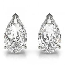 0.50ct Pear-Cut Diamond Stud Earrings 18kt White Gold (G-H, VS2-SI1)