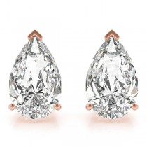 2.00ct Pear-Cut Lab Grown Diamond Stud Earrings 14kt Rose Gold (G-H, VS2-SI1)