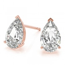 0.75ct Pear-Cut Lab Grown Diamond Stud Earrings 14kt Rose Gold (G-H, VS2-SI1)