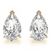 2.00ct Pear-Cut Lab Grown Diamond Stud Earrings 14kt Yellow Gold (G-H, VS2-SI1)