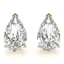 0.50ct Pear-Cut Lab Grown Diamond Stud Earrings 14kt Yellow Gold (G-H, VS2-SI1)