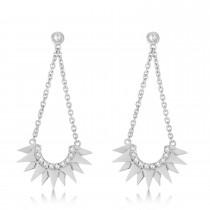 Diamond Sunburst Shaped Dangle Earrings 14k White Gold (0.13ct)