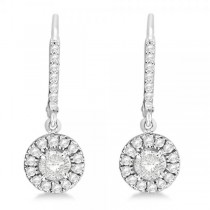 Diamond Accented Lever-Back Earrings set in 14k White Gold (1.45ct)