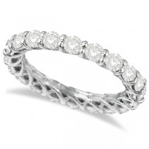 Luxury Diamond Eternity Anniversary Ring Band 14k White Gold (2.50ct)