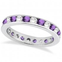 Channel-Set Amethyst & Diamond Eternity Ring 14k White Gold (1.50ct)