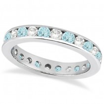 Channel-Set Aquamarine & Diamond Eternity Ring 14k White Gold (1.50ct)