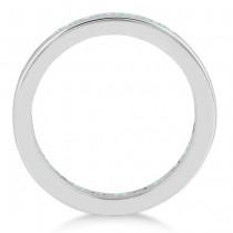 Channel-Set Aquamarine & Diamond Eternity Ring 14k White Gold (1.50ct)