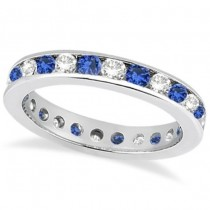 Channel-Set Sapphire & Diamond Eternity Ring 14k White Gold (1.50ct). Size 5.5