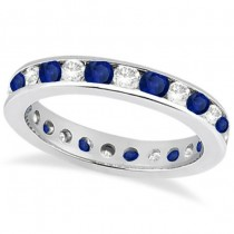 Channel-Set Sapphire & Diamond Eternity Ring 14k White Gold (1.50ct)