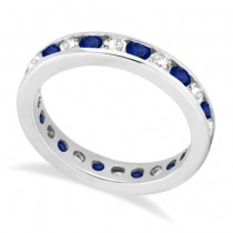 Channel-Set Sapphire & Diamond Eternity Ring 14k White Gold (1.50ct)|escape