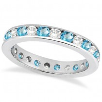 Channel-Set Blue Topaz & Diamond Eternity Ring 14k White Gold (1.50ct)