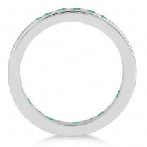 Channel-Set Emerald & Diamond Eternity Ring 14k White Gold (1.50ct)